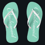 """Elegant mint green bridesmaid wedding flip flops<br><div class=""""desc"""">Elegant mint green wedding flip flops for bridesmaids. Custom background and strap color personalizable with name or monogram initials optional. Modern his and hers sandals with stylish script calligraphy typography. Cute party favor for beach theme wedding, marriage, bridal shower, engagement, anniversary, bbq, bachelorette, bachelor, girls weekend trip etc. Make your...</div>"""