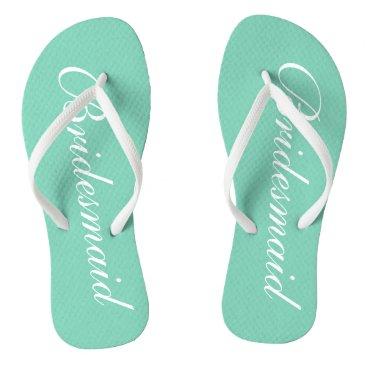 Beach Themed Elegant mint green bridesmaid wedding flip flops