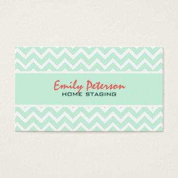 Professional Business Elegant Mint Green Chevron And White Background Business Card