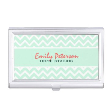 Professional Business Elegant Mint Green Chevron And White Background Business Card Case