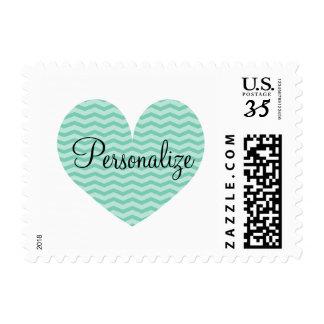 Elegant mint green chevron pattern heart stamps