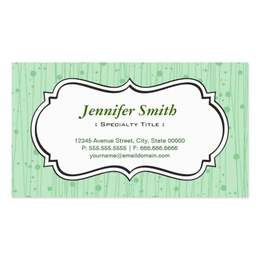 Elegant Mint Green Dots Stripes Business Card Template