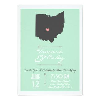 Elegant Mint Green Ohio State Wedding Invitation