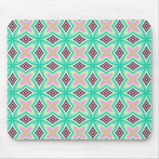 Elegant Mint Green Pink Stars Diamonds Abstract Mouse Pad