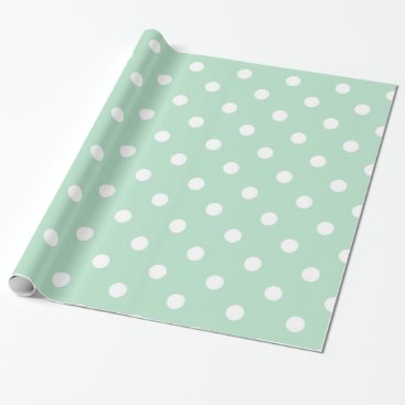 Christmas Themed Elegant Mint Green Polka Dots Wrapping Paper