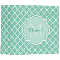 Elegant Mint Green Quatrefoil Monogram With Name Binder