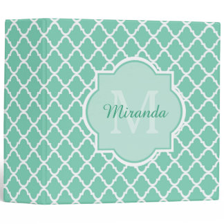 Elegant Mint Green Quatrefoil Monogram With Name Binder