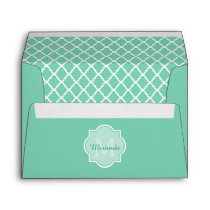 Elegant Mint Green Quatrefoil Monogram With Name Envelope