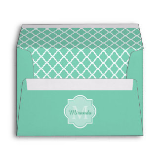 Elegant Mint Green Quatrefoil Monogram With Name Envelope