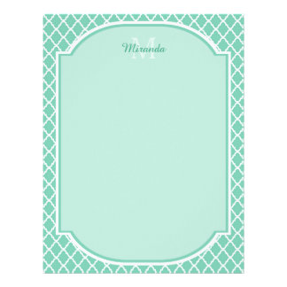 Elegant Mint Green Quatrefoil Monogram With Name Letterhead