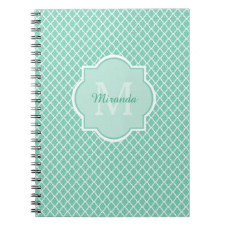 Elegant Mint Green Quatrefoil Monogram With Name Spiral Notebook