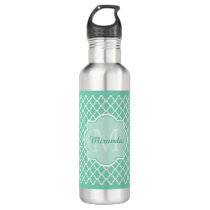 Elegant Mint Green Quatrefoil Monogram With Name Stainless Steel Water Bottle