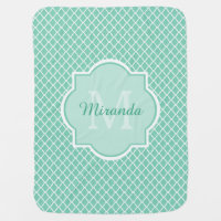 Elegant Mint Green Quatrefoil Monogram With Name Swaddle Blanket