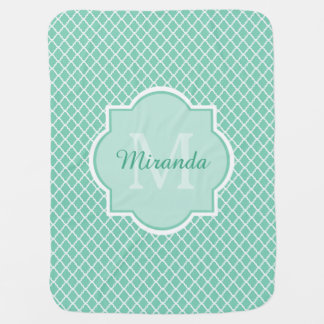 Elegant Mint Green Quatrefoil Monogram With Name Swaddle Blanket