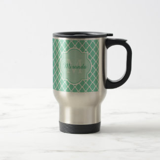 Elegant Mint Green Quatrefoil Monogram With Name Travel Mug