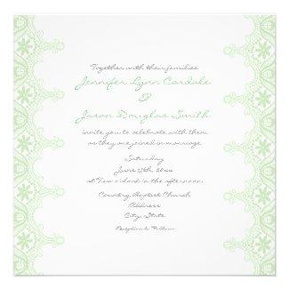 Elegant Mint Green Sage Lace Wedding Invitations