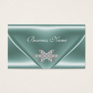 Elegant Mint Green Silver Diamond Jewel Business Card