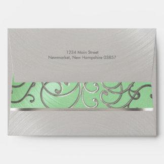 Elegant Mint Green Silver Filigree Envelope