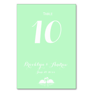 Elegant Mint Green Swan Wedding Table Numbers