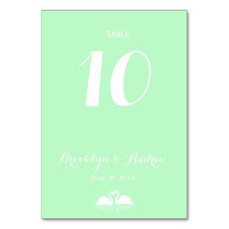 Elegant Mint Green Swan Wedding Table Numbers Card