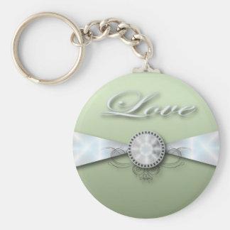 Elegant Mint Green Wedding Invitation and Favor Keychain