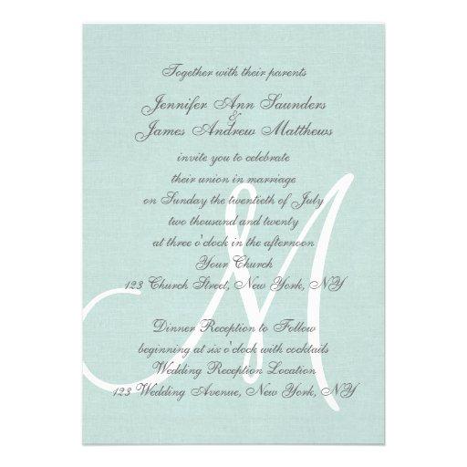 Elegant Mint Green Wedding Invitations Initial (back side)