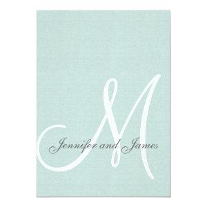 Elegant Mint Green Wedding Invitations Initial 5