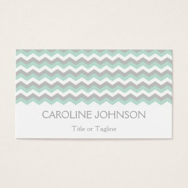 Professional Business Elegant Mint Green White Gray Chevron Zigzag Business Card