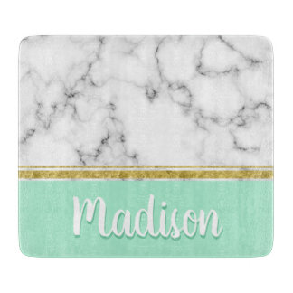 Elegant Mint Marble and Gold Custom Name Cutting Board