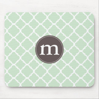 Elegant Mint Moroccan Quatrefoil Personalized Mousepads