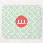 Elegant Mint Moroccan Quatrefoil Personalized Mouse Pads