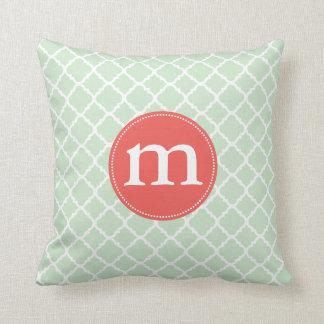 Elegant Mint Moroccan Quatrefoil Personalized Throw Pillow