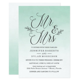 Elegant Mint Ombre Watercolor Wedding Invitation