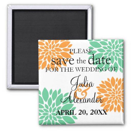 Elegant Mint Orange Floral Burst Save The Date 2 Inch Square Magnet