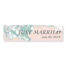 Elegant Mint Pink Blush Lace Scroll Wedding Bumper Sticker