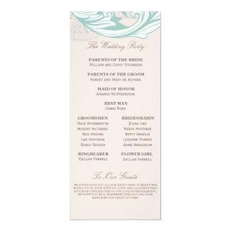 Elegant Mint Pink Blush Lace Scroll Wedding Card