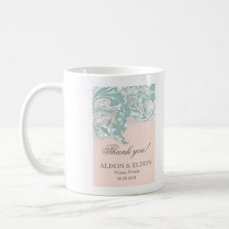 Elegant Mint Pink Blush Lace Scroll Wedding Coffee Mug