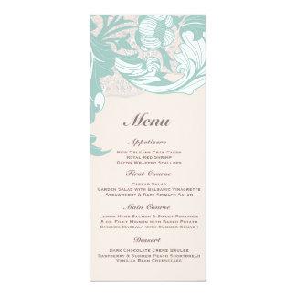 Elegant Mint Pink Blush Lace Scroll Wedding 4x9.25 Paper Invitation Card