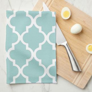 Elegant Mint Quatrefoil Tiles Pattern Kitchen Towels
