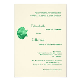 Elegant Mint Rattan Seashell Wedding Invitation