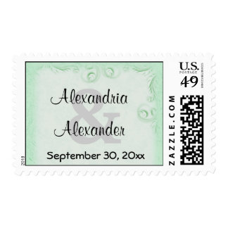 Elegant Mint Scrollwork Save The Date Postage