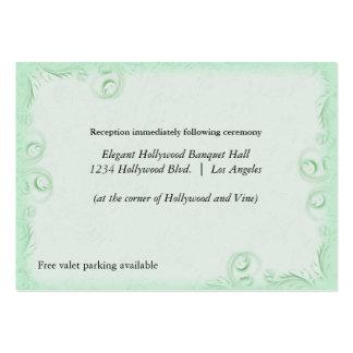 Elegant Mint Scrollwork Wedding Reception Card Large Business Cards (Pack Of 100)