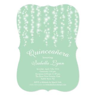 Elegant Mint Sparkling Lights Quinceañera Party Card