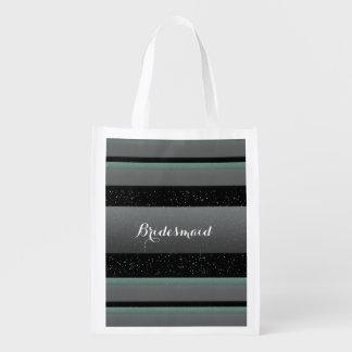 Elegant Mint, Spots, & Stripes Bridesmaid Eco Tote