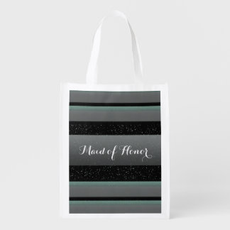 Elegant Mint, Spots, & Stripes Maid of Honor Eco Reusable Grocery Bag
