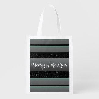 Elegant Mint, Spots, & Stripes Mother of Bride Eco Grocery Bag