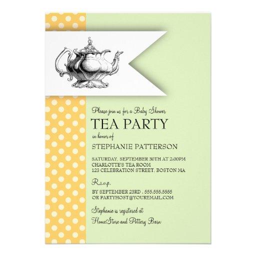 Elegant Mint Yellow Polkadot Baby Shower Tea Party Cards