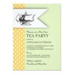 "Elegant Mint Yellow Polkadot Baby Shower Tea Party 5"" X 7"" Invitation Card"