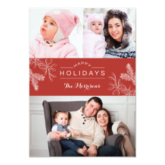 Elegant Mistletoe Happy Holidays Photo Card