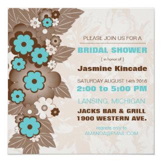 Elegant Mocha and Teal Bridal Shower Invitations
